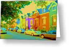 Peaceful Painted Pastel Rowhouses Printemps Plateau Montreal Scene Du Rue Carole Spandau Greeting Card