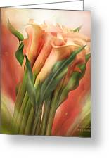 Peach Callas Greeting Card