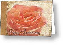 Peach Rose Anniversary Card Greeting Card