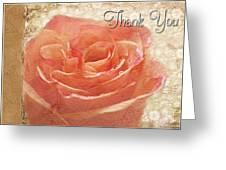 Peach Rose Thank You Card Greeting Card