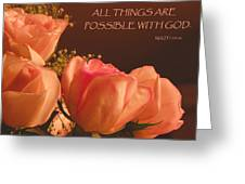 Peach Roses With Scripture Greeting Card