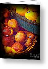 Peaches And Citrus With Blue Wooden Basket Greeting Card