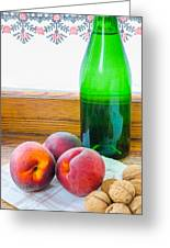 Peaches And Walnuts With Bottle Greeting Card