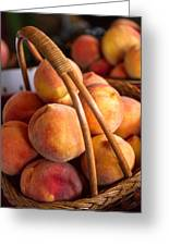 Peaches In Wicker Basket Greeting Card