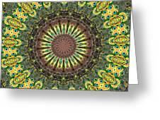 Peacock Feathers Kaleidoscope 7 Greeting Card