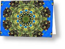 Peacock Feathers Kaleidoscope 9 Greeting Card