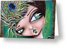 Peacock Princess Greeting Card