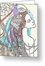 Peacock Woman 2 Greeting Card