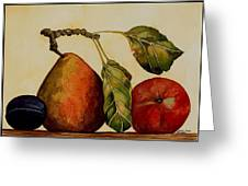 Pear Plum Apple Greeting Card