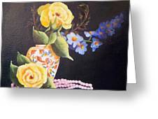 Pearls And Roses Greeting Card