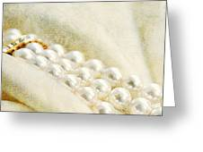 Pearls On White Velvet Greeting Card
