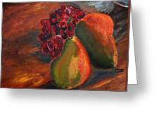 Pears And Grapes In The Lamplight Greeting Card