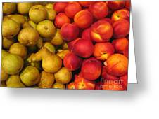 Pears And Peaches. Fresh Market Series Greeting Card