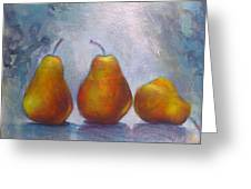 Pears On Blue Original Acrylic Painting Greeting Card