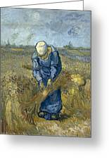 Peasant Woman Binding Sheaves - After Millet Greeting Card
