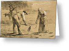 Peasants Planting Potatoes  Greeting Card