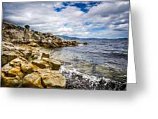 Pebbled Beach Under Dramatic Skies Number Two Greeting Card