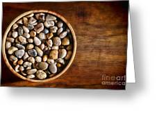 Pebbles In Wood Bowl Greeting Card