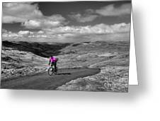 Pedalling The Pass In Pink  Greeting Card
