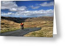 Pedalling The Pass Greeting Card