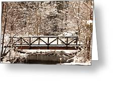 Pedestrian Bridge In The Snow Greeting Card