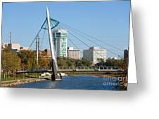 Pedestrian Bridge Over Arkansas River In Wichita Greeting Card