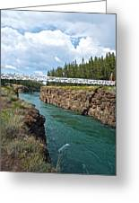 Pedestrian Bridge Over Yukon River In Miles Canyon Near Whitehorse-yk Greeting Card