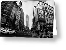 Pedestrians Crossing Crossway At Macys At Broadway And 34th Street Herald Square Greeting Card by Joe Fox