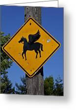 Pegasus Road Sign Greeting Card