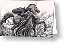 Pegasus Tamed By The Muses Erato And Calliope Greeting Card