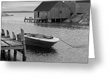 Peggys Cove In Black And White Greeting Card