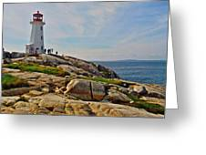 Peggy's Cove Lighthouse On The Rocks-ns Greeting Card