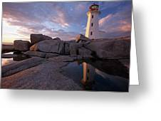 Peggys Point Lighthouse At Sunset Greeting Card