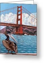 Pelican  And Bridge Greeting Card