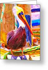 Pelican On The Dock Greeting Card
