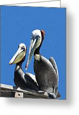 Pelican Pair At Oceanside Pier Greeting Card