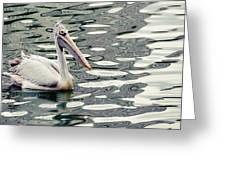 Pelican With Abstract Water Reflections I Greeting Card