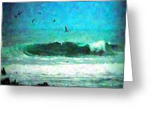 Pelicans Enjoying The Mighty Pacific Impressionism Greeting Card