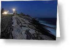 Pemaquid Point Lighthouse Moonlight Greeting Card
