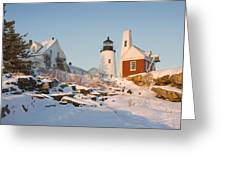 Pemaquid Point Lighthouse Winter In Maine  Greeting Card by Keith Webber Jr