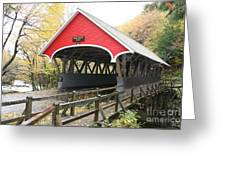Pemigewasset River Covered Bridge In Fall Greeting Card