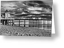 Penarth Pier Panorama Monochrome Greeting Card