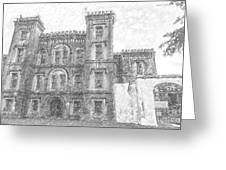 Pencil Drawing Of Old Jail Greeting Card