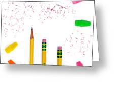 Pencils And Erasers Greeting Card
