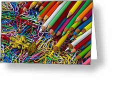 Pencils And Paperclips Greeting Card