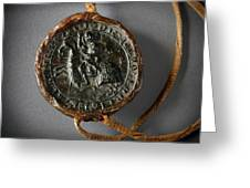 Pendent Wax Seal Of The Council Of Calahorra Greeting Card