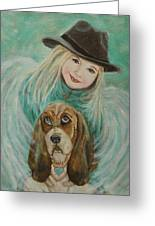 Penelope And Charlie Little Angel Of Faith And Loyalty Greeting Card