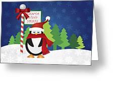 Penguin At Santa Stop Here Sign Greeting Card