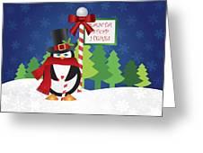 Penguin Top Hat At Santa Stop Here Sign Greeting Card