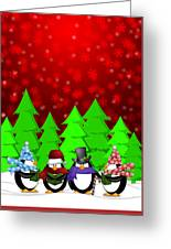 Penguins Carolers Singing With Red Winter Scene Illustration Greeting Card